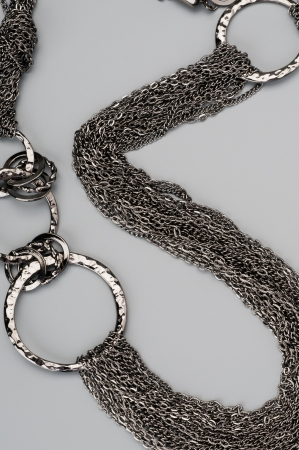 Luxury silver necklace on gray background Stock Photo - 17453484