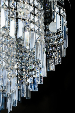 Contemporary glass chandelier closeup