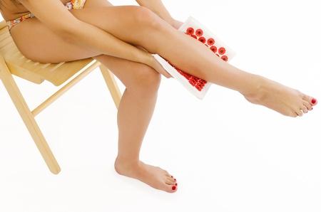 Woman doing self massage Stock Photo - 20104654