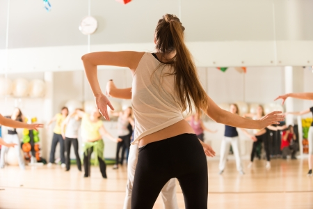 fitness trainer: Dance class for women Stock Photo