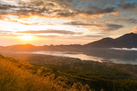 Sunrise over lake Batur photo