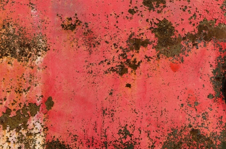 Rusty metal plate with peeling paint background or texture photo