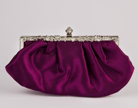 Woman  handbag on gray background photo