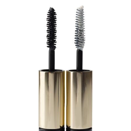 Two Mascara brushes isolated over white background photo