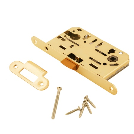 Door lock assembly with bolts on White Background photo