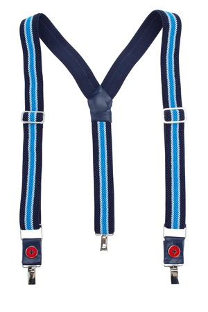 New blue suspenders isolated on white background Standard-Bild