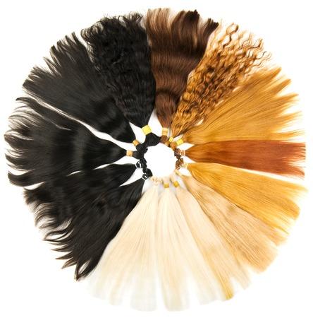 textura pelo: Extensiones de colores aislados en un fondo blanco
