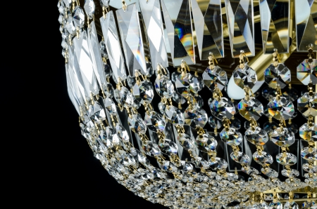 Contemporary glass chandelier fragment isolated over black background Stock Photo - 23019358