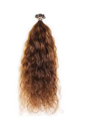 hair shampoo: Extensions for brown hair isolated on a white background