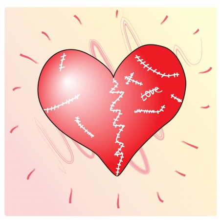 healed: Heart wounded and broken but healed. Vector illustration Illustration