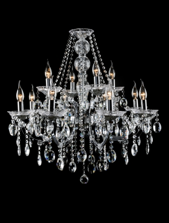 Contemporary glass chandelier isolated over black background Standard-Bild
