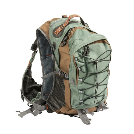 Large tourist or fisherman backpack isolated on white background Stock Photo