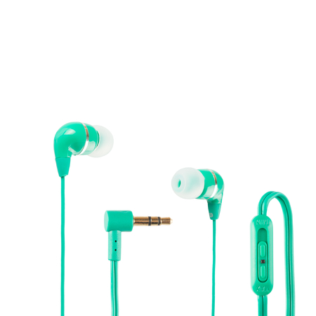 Green headphones closeup shot over white background photo