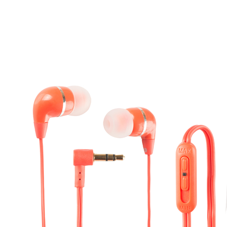 Red headphones with volume control over white background photo