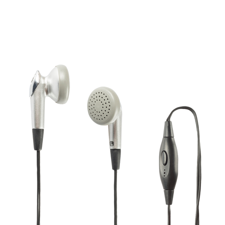 Grey headphones with volume control over white background photo