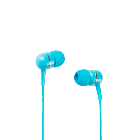 Blue headphones closeup shot over white background photo