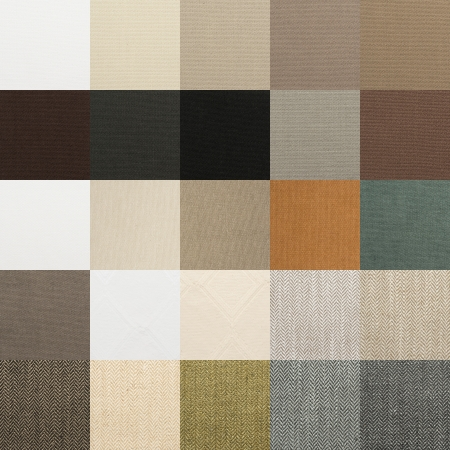 Textile chart with many color and texture samples