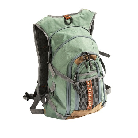 haversack: Large tourist or fisherman backpack isolated on white background Stock Photo