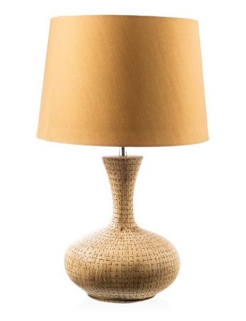 Modern table lamp isolated on white Standard-Bild