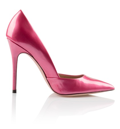 Modern fashionable pink women shoe shot in studio