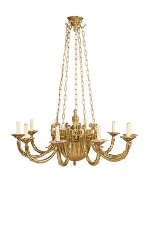 Luxury golden chandelier isolated on white background photo