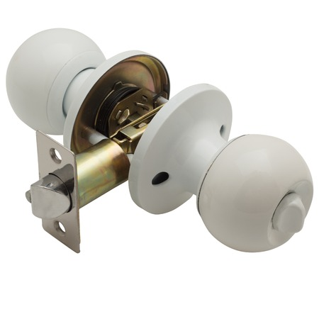 Classic door handle macro view isolated on white Stock Photo