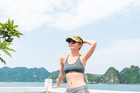 long bay: Tourist enjoying landscape with limestone mountains. Ha Long Bay,  Vietnam