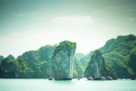 long bay: Picturesque sea landscape with limestone mountains. Ha Long Bay,  Vietnam