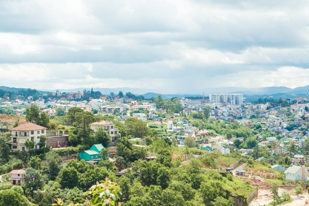 forcing: View of Dalat City, Vietnam with blue sky and clouds on a sunny day