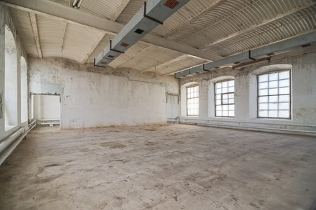 Empty warehouse office or commercial area, industrial background