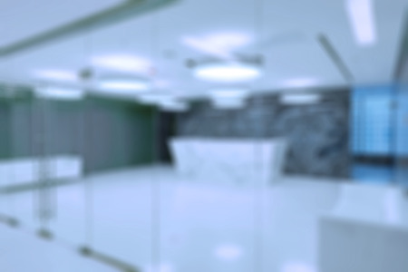 new office space: Generic reception in modern business centre building blur background