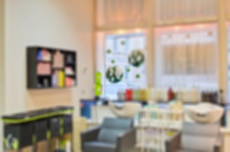 Modern beauty salon blur background with bokeh photo