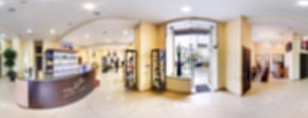 Modern beauty salon blur background panorama with bokeh photo