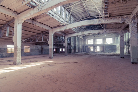 dirty room: Empty warehouse office or commercial area, industrial background