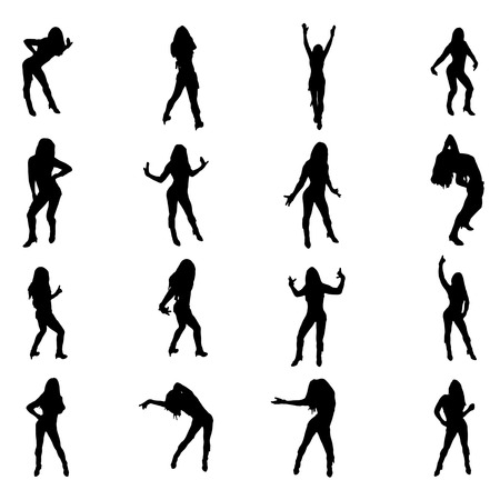 sexy dancer: Set of sexy dancer womnen shapes silhouettes