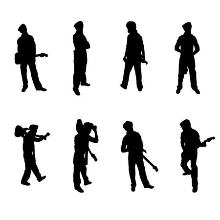 Set of eight Guitar Player silhouettes Vector Image Illustration