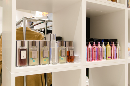 parfume: MOSCOW, RUSSIA - April 11, 2012 - Parfume corner in large shopping centre downtown Moscow Editorial