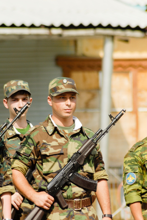 battalion: MOROZKI, RUSSIA - July 15, 2006 - Young Russian soldiers on a military Oath day in army