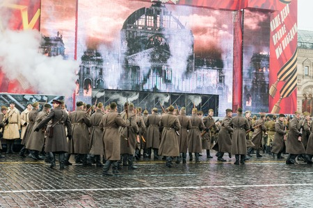 battalion: MOSCOW, RUSSIA - November 7, 2014 - Parade on Red Square in Moscow commemorating similar event that took place in 1941 at the beginning of WWII