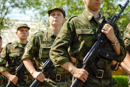 soldier: MOROZKI, RUSSIA - July 15, 2006 - Young Russian soldiers on a military Oath day in army