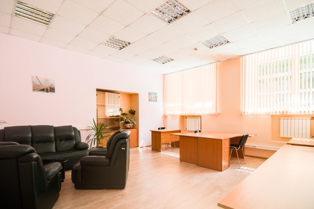 hall monitors: MOSCOW, RUSSIA - August 11, 2015 - Empty office interior