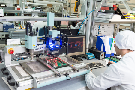 MOSCOW, RUSSIA - November 27, 2014 - Production of electronic components  at high-tech factory 新聞圖片