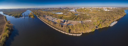 moskva river: Aerial panoramic view of Moskva river with damb and some plant in horizont