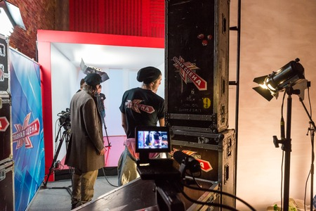 human factors: MOSCOW, RUSSIA - January 30, 2015 - TV show filming backstage Editorial