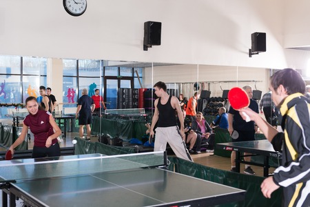 pong: MOSCOW, RUSSIA - December 16, 2012 - People playing ping pong