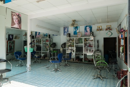 small country town: MEKONG DELTA, VIETNAM - April 26, 2014 - Empty vietnamese barbershop at small country town in Mekong delta