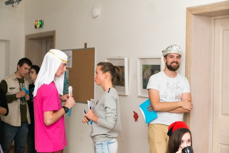 participants: MOSCOW, RUSSIA - August 31, 2014 - Participants of social quest role playing game with Arab Mystery Detective Investigation theme Editorial
