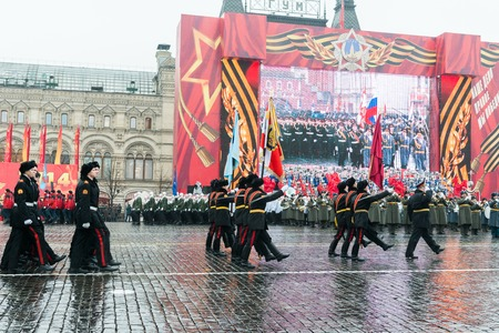 march band: MOSCOW, RUSSIA - November 7, 2014 - Parade on Red Square in Moscow commemorating similar event that took place in 1941 at the beginning of WWII