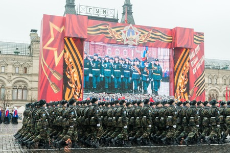 commemorating: MOSCOW, RUSSIA - November 7, 2014 - Parade on Red Square in Moscow commemorating similar event that took place in 1941 at the beginning of WWII