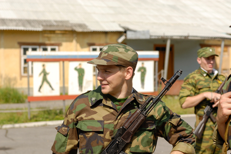 military men: MOROZKI, RUSSIA - July 15, 2006 - Young Russian soldiers on a military Oath day in army